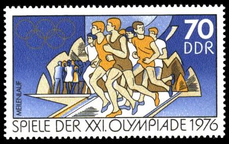 70 Pf Briefmarke: Spiele der XXI.Olympiade 1976, Meilenlauf