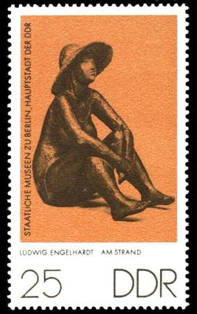 25 Pf Briefmarke: Staatliche Museen zu Berlin, Am Strand