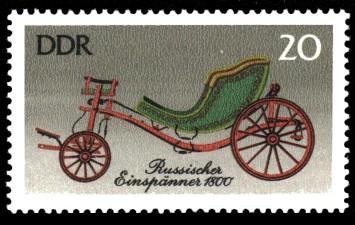 20 Pf Briefmarke: Historische Kutschen, Russischer Einspänner