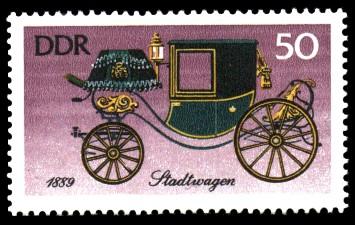 50 Pf Briefmarke: Historische Kutschen, Stadtwagen