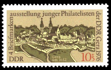 10 + 5 Pf Briefmarke: Tag der Philatelisten, Gera um 1652