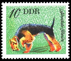 10 Pf Briefmarke: Hunde, Hunderassen, Airedale Terrier