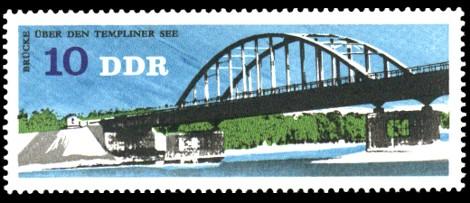 10 Pf Briefmarke: Brücken in der DDR, Brücke Templiner See