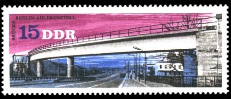 15 Pf Briefmarke: Brücken in der DDR, Brücke Berlin-Adlergestell