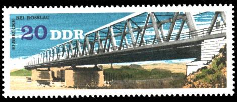 20 Pf Briefmarke: Brücken in der DDR, Elbbrücke Rosslau