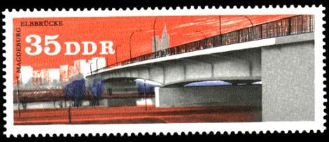 35 Pf Briefmarke: Brücken in der DDR, Elbbrücke Magdeburg