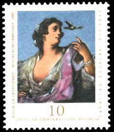 10 Pf Briefmarke: Staatl. Kunstsammlungen Dresden, Gemäldegalerie Alte Meister, Die Luft