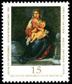 15 Pf Briefmarke: Staatl. Kunstsammlungen Dresden, Gemäldegalerie Alte Meister, Maria mit dem Kinde