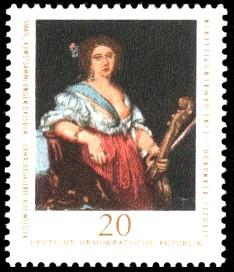 20 Pf Briefmarke: Staatl. Kunstsammlungen Dresden, Gemäldegalerie Alte Meister, Gambenspielerin