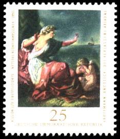 25 Pf Briefmarke: Staatl. Kunstsammlungen Dresden, Gemäldegalerie Alte Meister, verlassene Ariadne