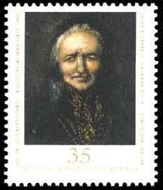 35 Pf Briefmarke: Staatl. Kunstsammlungen Dresden, Gemäldegalerie Alte Meister, Alter Mann mit schwarzer Kappe