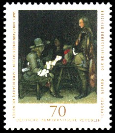 70 Pf Briefmarke: Staatl. Kunstsammlungen Dresden, Gemäldegalerie Alte Meister, brieflesender Offizier