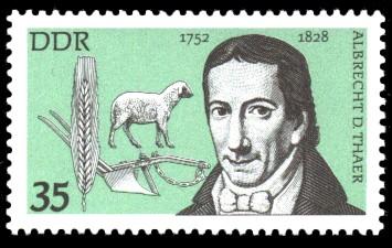 35 Pf Briefmarke: Bedeutende Persönlichkeiten, Albrecht D. Thaer