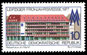 10 Pf Briefmarke: Leipziger Frühjahrsmesse, Messehaus am Markt