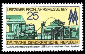 25 Pf Briefmarke: Leipziger Frühjahrsmesse 1977, Aluminiumbreitbandgießwalzen