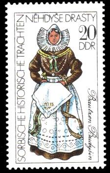 20 Pf Briefmarke: Sorbische historische Trachten, Bautzen