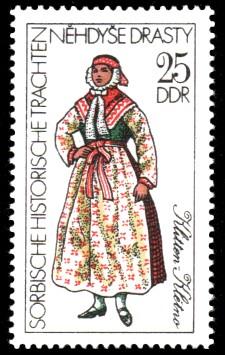 25 Pf Briefmarke: Sorbische historische Trachten, Klitten