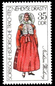 35 Pf Briefmarke: Sorbische historische Trachten, Nochten
