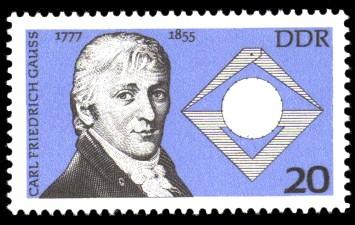 20 Pf Briefmarke: 200. Geburtstag C.F. Gauß
