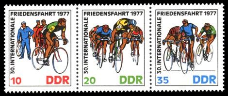 Briefmarke: Dreierstreifen - 30. Internationale Friedensfahrt 1977