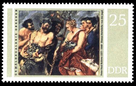 25 Pf Briefmarke: Gemäldegalerie Dresden, Rubens, Dianas Heimkehr