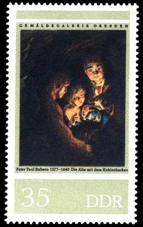 35 Pf Briefmarke: Gemäldegalerie Dresden, Rubens, Alte mit Kohlenbecken