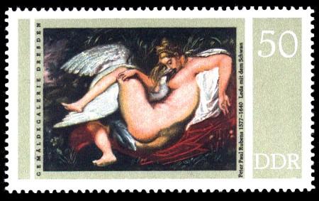 50 Pf Briefmarke: Gemäldegalerie Dresden, Rubens, Leda mit Schwan