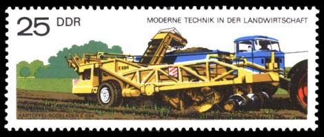 25 Pf Briefmarke: Moderne Technik in der Landwirtschaft, Kartoffel-Rodelader