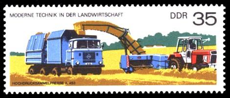 35 Pf Briefmarke: Moderne Technik in der Landwirtschaft, Hochdrucksammelpresse