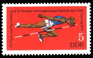 5 Pf Briefmarke: VI. Turn- und Sportfest u. Kinder- und Jugendspartakiade, Hochsprung