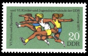 20 Pf Briefmarke: VI. Turn- und Sportfest u. Kinder- und Jugendspartakiade, Hürdenlauf