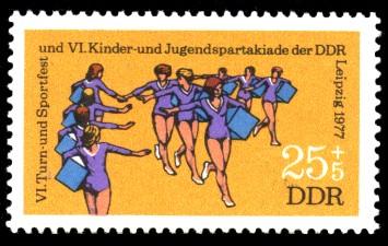 25 + 5 Pf Briefmarke: VI. Turn- und Sportfest u. Kinder- und Jugendspartakiade, Gymnastik