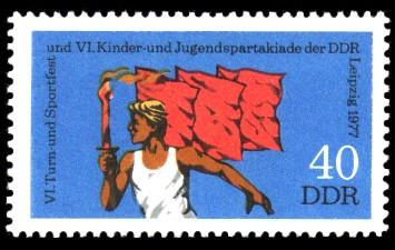 40 Pf Briefmarke: VI. Turn- und Sportfest u. Kinder- und Jugendspartakiade, Fackelläufer