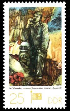 25 Pf Briefmarke: Sozphilex 77, Kommunisten träumen