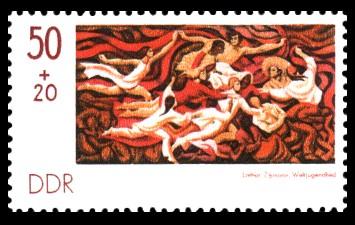 50 + 20 Pf Briefmarke: Sozphilex 77, Weltjugendlied
