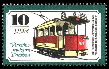 10 Pf Briefmarke: Verkehrsmuseum Dresden, Strassenbahntriebwagen