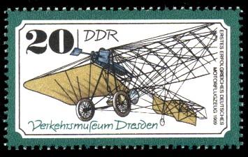 20 Pf Briefmarke: Verkehrsmuseum Dresden, Motorflugzeug