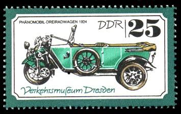 25 Pf Briefmarke: Verkehrsmuseum Dresden, Dreiradwagen