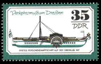 35 Pf Briefmarke: Verkehrsmuseum Dresden, Personendampfschiff