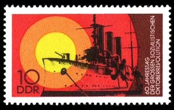 10 Pf Briefmarke: 60. Jahrestag der Oktoberrevolution, Panzerkreuzer Aurora