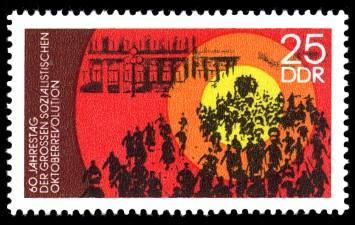 25 Pf Briefmarke: 60. Jahrestag der Oktoberrevolution, Sturm Winterpalais