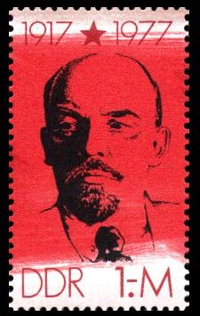 1 M Briefmarke: 60 Jahre Roter Oktober, W.I.Lenin