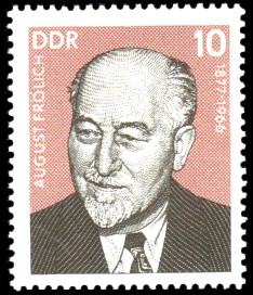 10 Pf Briefmarke: Persönlichkeiten der deutschen Arbeiterbewegung, August Frölich