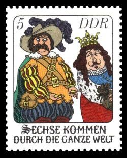 5 Pf Briefmarke: Märchen - Sechse kommen durch die ganze Welt