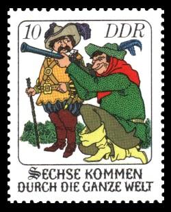 10 Pf Briefmarke: Märchen - Sechse kommen durch die ganze Welt