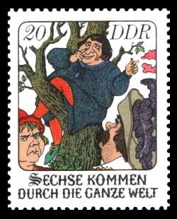 20 Pf Briefmarke: Märchen - Sechse kommen durch die ganze Welt