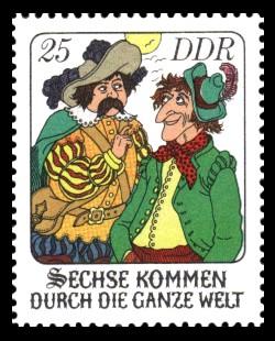 25 Pf Briefmarke: Märchen - Sechse kommen durch die ganze Welt