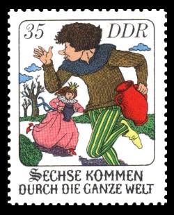 35 Pf Briefmarke: Märchen - Sechse kommen durch die ganze Welt
