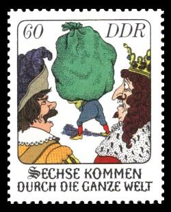 60 Pf Briefmarke: Märchen - Sechse kommen durch die ganze Welt