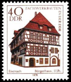 40 Pf Briefmarke: Fachwerkbauten in der DDR, Bürgerhaus Eisenach